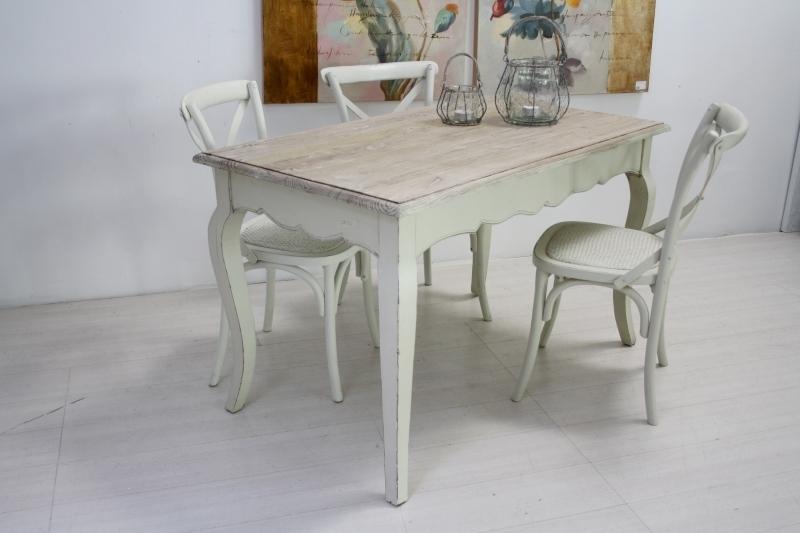 Tavolo legno bianco shabby chic arredamento provenzale online - Tavolo shabby ...