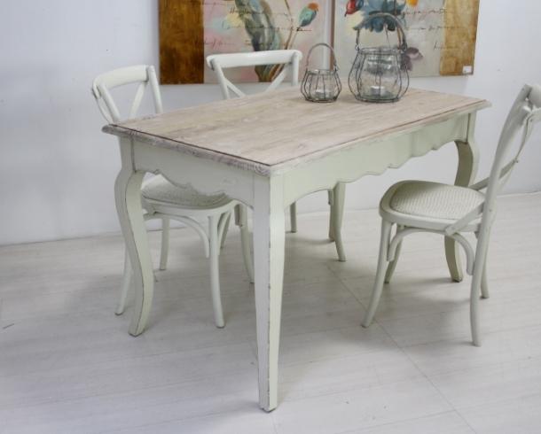 Tavolo legno bianco shabby chic arredamento provenzale online for Shabby chic on line