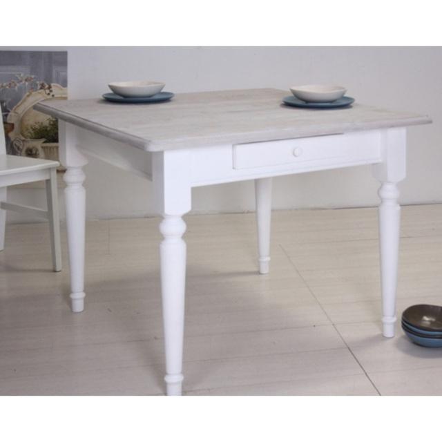Tavolo provenzale bianco chic arredamenti shabby chic - Tavolo bianco shabby chic ...