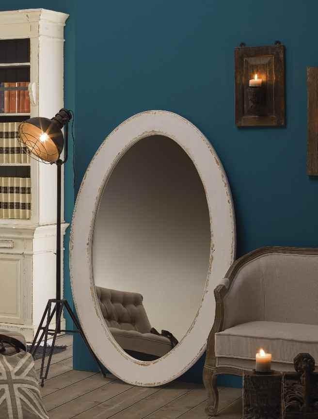 Specchio legno bianco shabby chic - Specchio ovale shabby chic ...