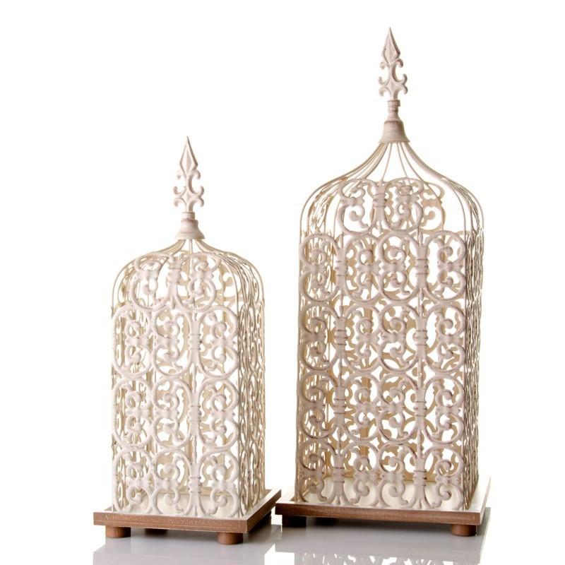 Lanterne portacandela bianche set 2pz etnico outlet mobili - Portacandele da tavolo ...