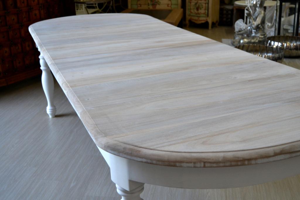 Tavolo ovale bianco shabby chic allungabile tavoli for Tavoli etnici allungabili