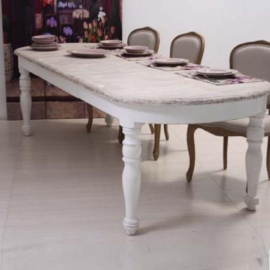 Tavolo ovale bianco shabby chic allungabile tavoli for Tavoli shabby chic usati