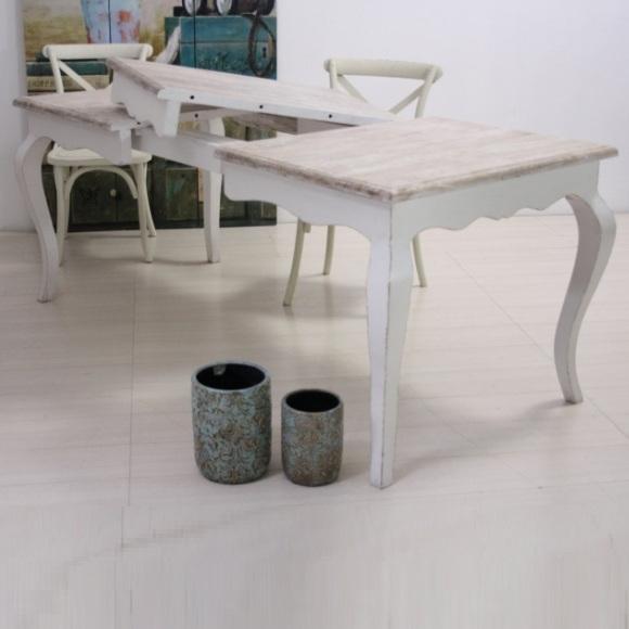 Tavolo provenzale allungabile legno massello bianco shabby - Tavolo quadrato allungabile shabby chic ...