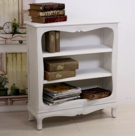 Libreria legno bianco shabby librerie decapate online for Librerie bianche