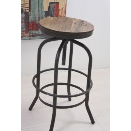 Sgabello legno e ferro vintage etnico outlet mobili for Sgabello bianco legno