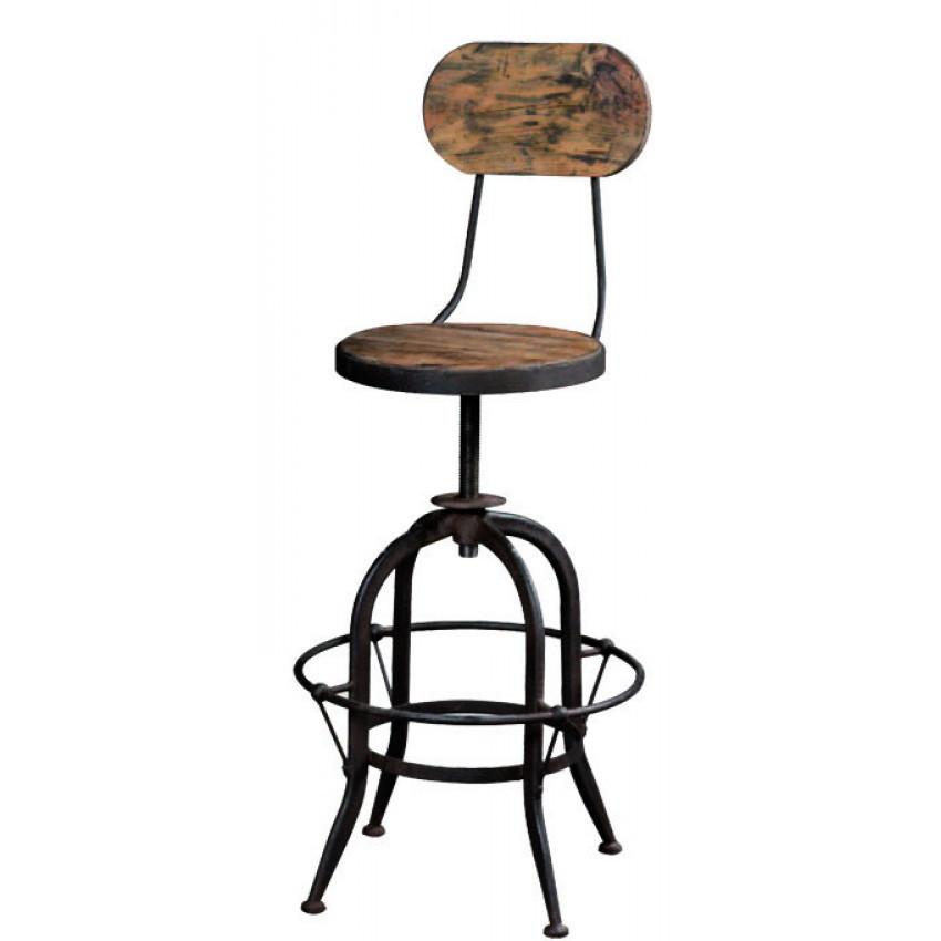 Sgabello legno e ferro shabelli industrial online for Sedie ferro legno
