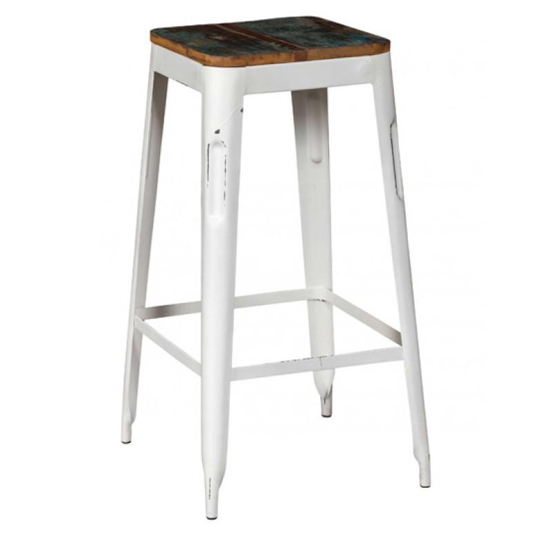 Sgabello bar industrial bianco outlet tavoli stile for Sgabello bianco legno