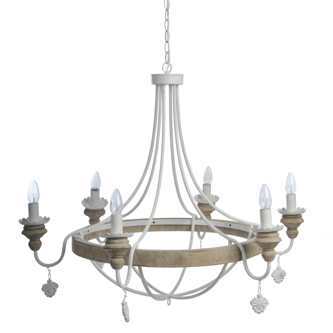 Lampadario shabby chic 6 luci - Etnico Outlet Mobili Etnici