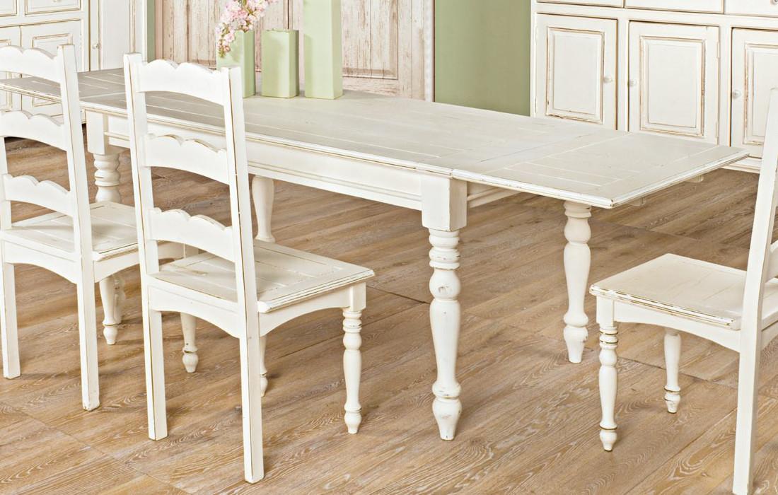 Tavolo shabby chic allungabile mobili provenzali shabby chic for Tavolo in legno bianco