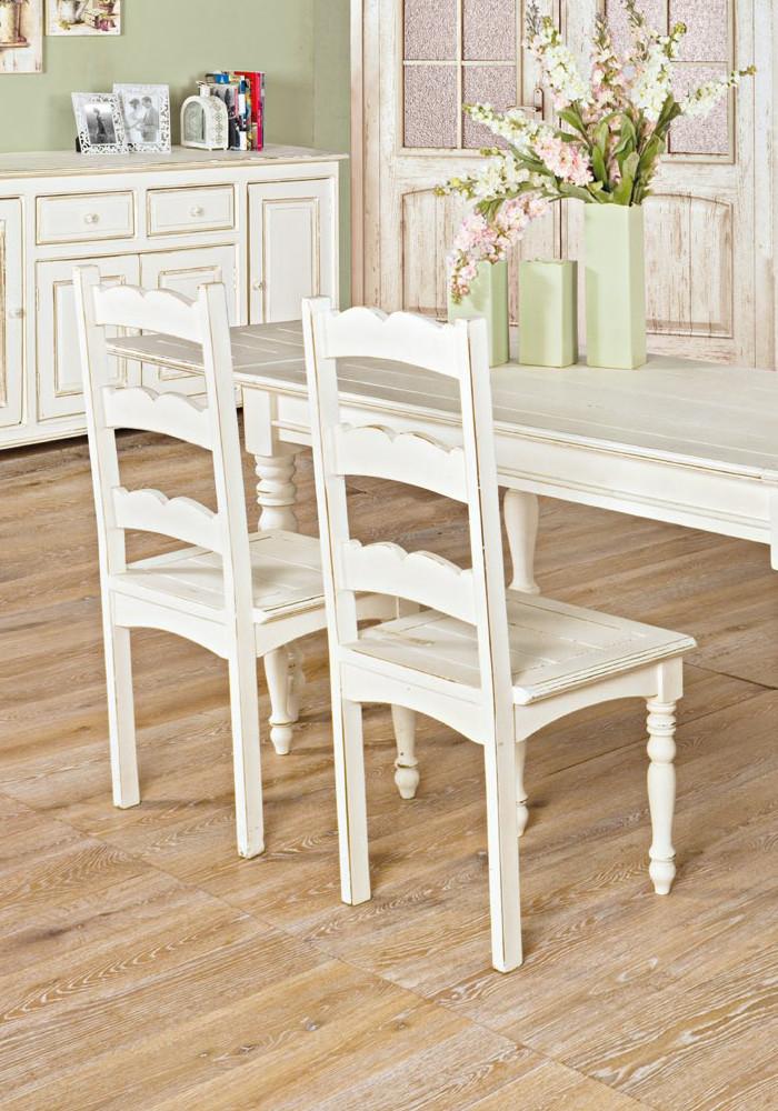 Sedia bianca shabby chic mobili shabby chic etnico outlet - Sedia legno bianca ...