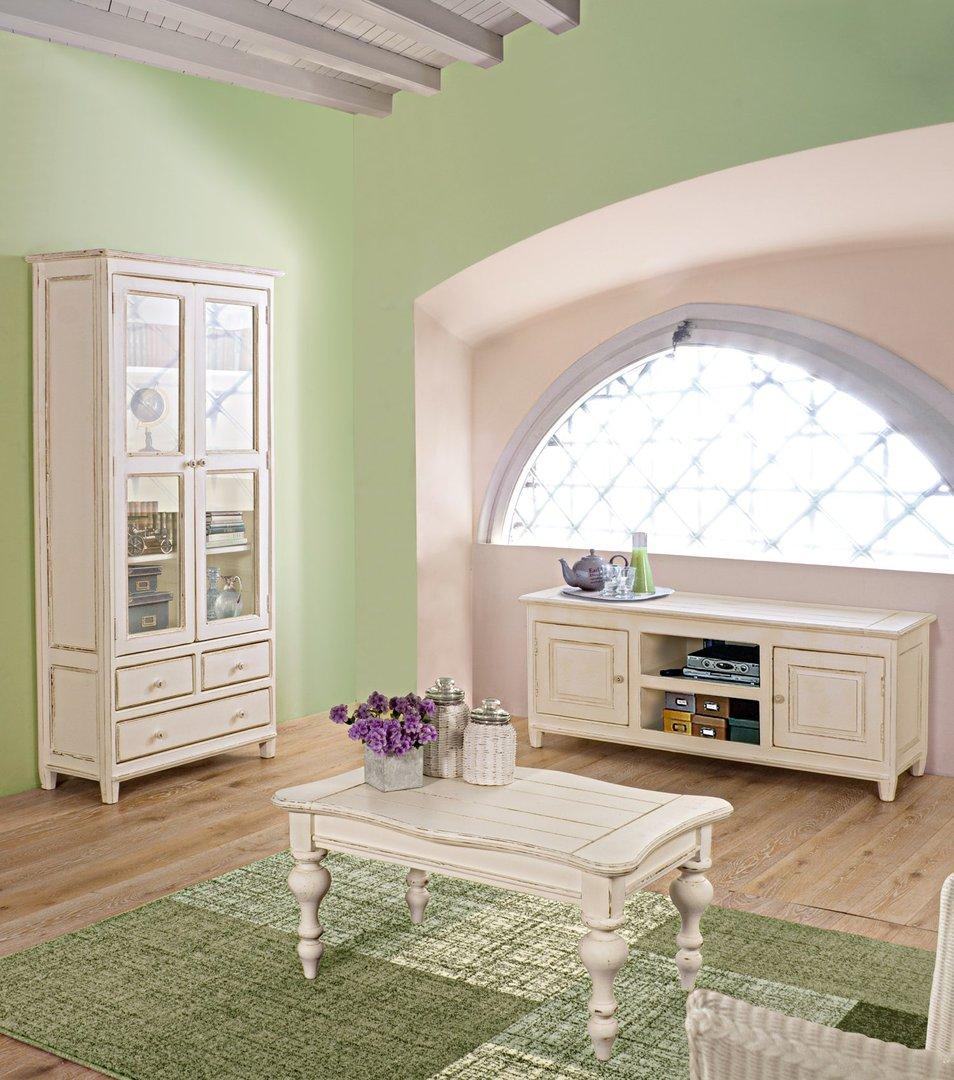 Vetrina bianca shabby chic mobili etnici provenzali for Salotti shabby chic