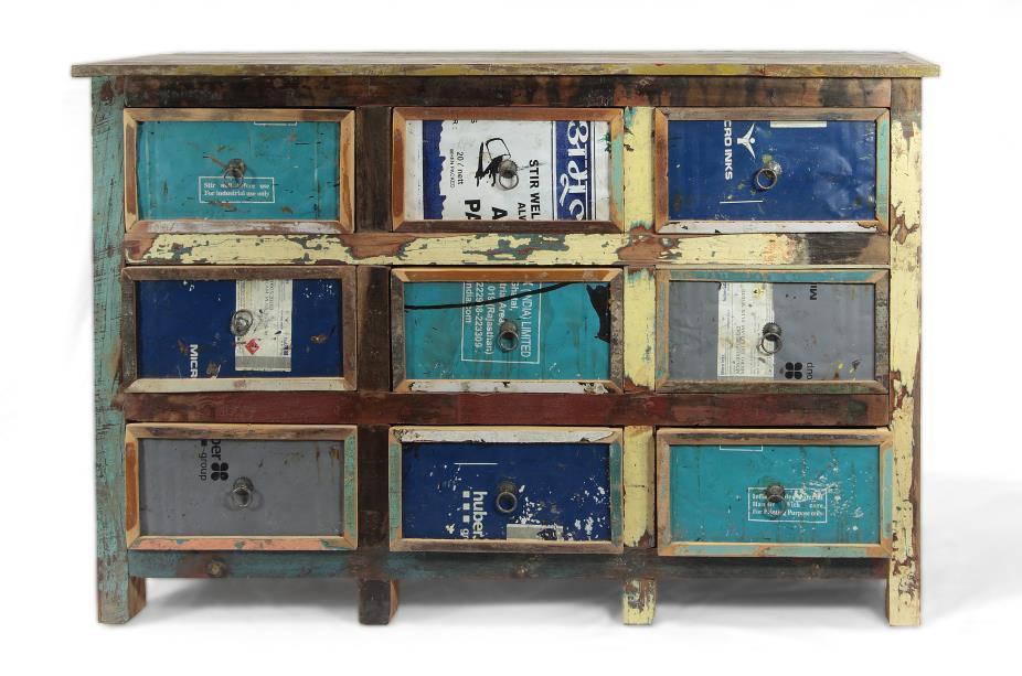 Cassettiera vintage multicolor arredo industriale for Cassettiera industriale vintage