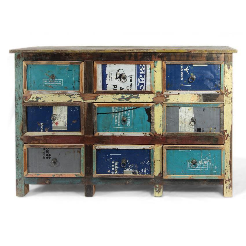 Cassettiera vintage multicolor arredo industriale for Mobili industriali vintage