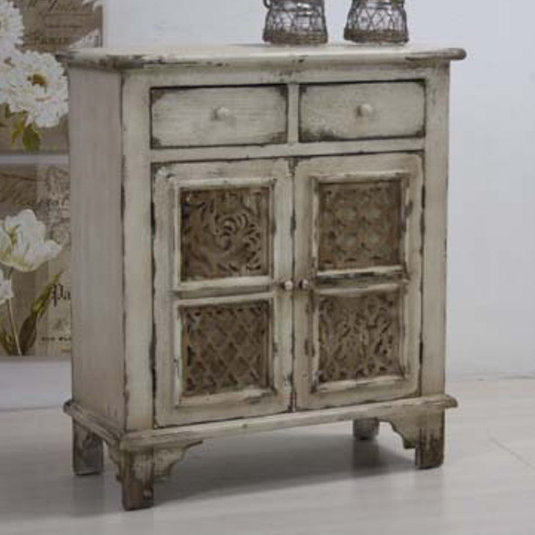 Buffet legno bianco antico decapato etnico outlet mobili for Mobili legno bianco anticato