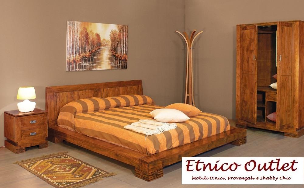 Letto etnico legno massello letti etnici online - Camere da letto in legno massello ...