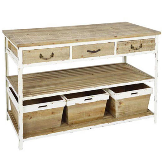 Consolle shabby chic con cesti etnico outlet mobili etnici for Consolle shabby chic