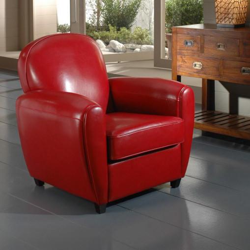 Poltrona chester in pelle rossa etnico outlet mobili etnici for Poltrona chester