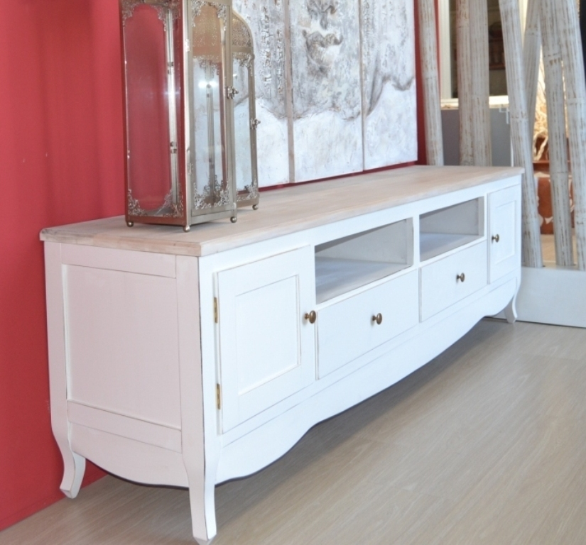 Porta tv legno bianco shabby top naturale mobili for Web mobili outlet