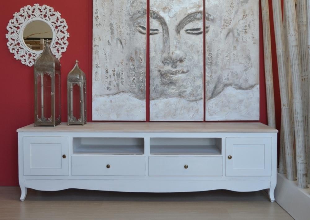 Porta tv legno bianco shabby mobili shabby chic online - Porta tv bianco ...
