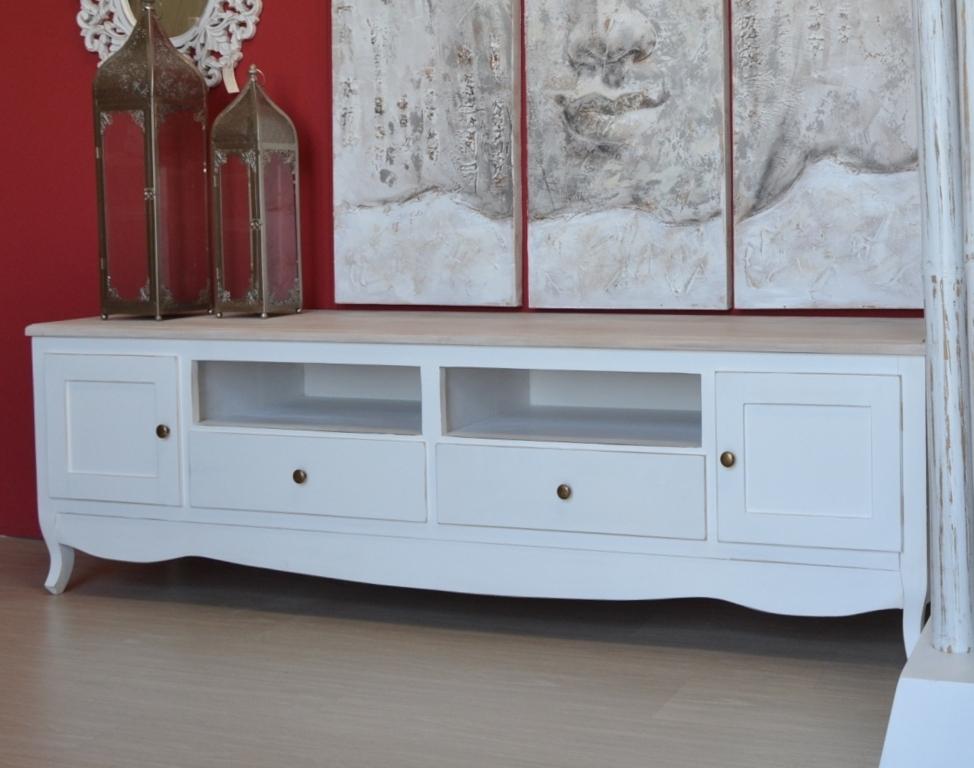 Porta tv legno bianco shabby top naturale mobili provenzali invar175 ebay - Dalani mobili porta tv ...