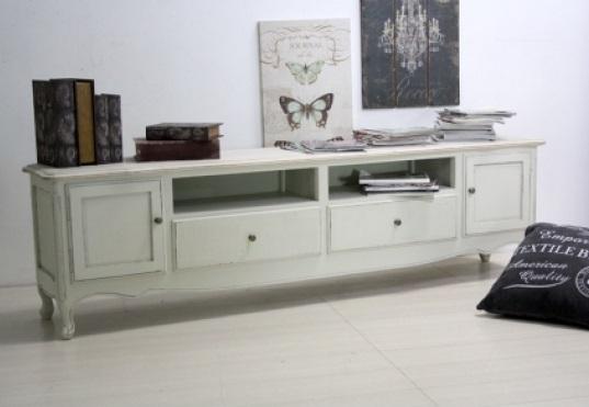 Porta tv legno bianco shabby mobili shabby chic online for Mobili legno bianco anticato