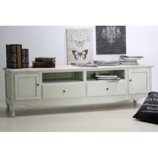 porta tv legno bianco shabby top naturale mobili. Black Bedroom Furniture Sets. Home Design Ideas