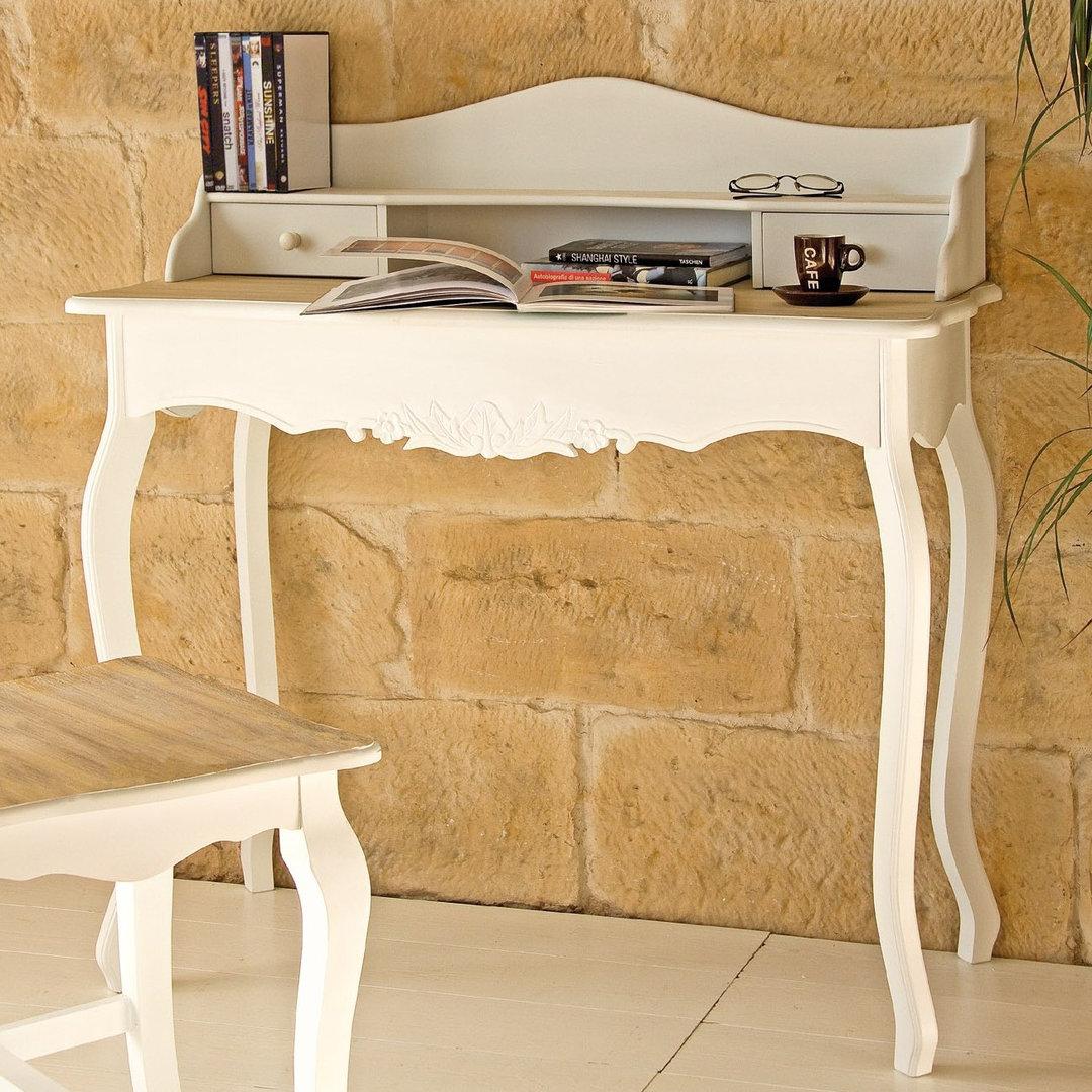 Scrivania legno bicolore etnico outlet mobili etnici for Scrivania shabby