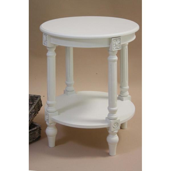 Tavolino rotondo provenzale bianco - Etnico Outlet Mobili Etnici
