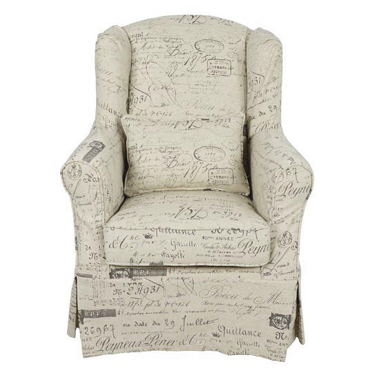 Poltrona vintage tessuto stampato con cuscino- Etnico Outlet