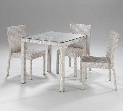 Set giardino tavolo e sedie bianco etnico outlet mobili for Set tavolo e sedie da giardino outlet