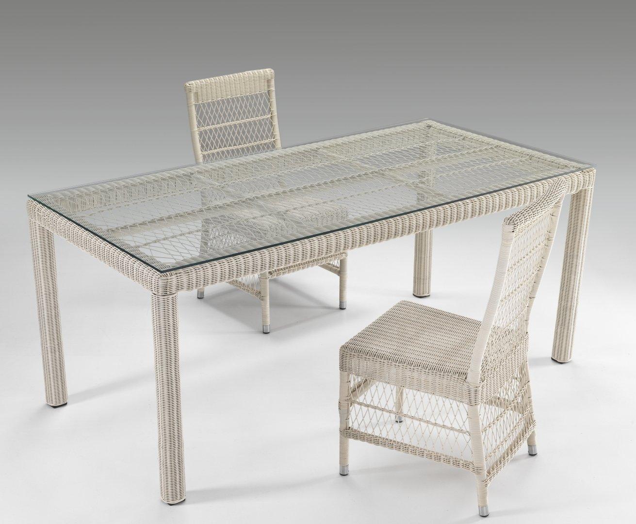 Tavolo rettangolare con vetro - Tavolo da giardino rattan ...