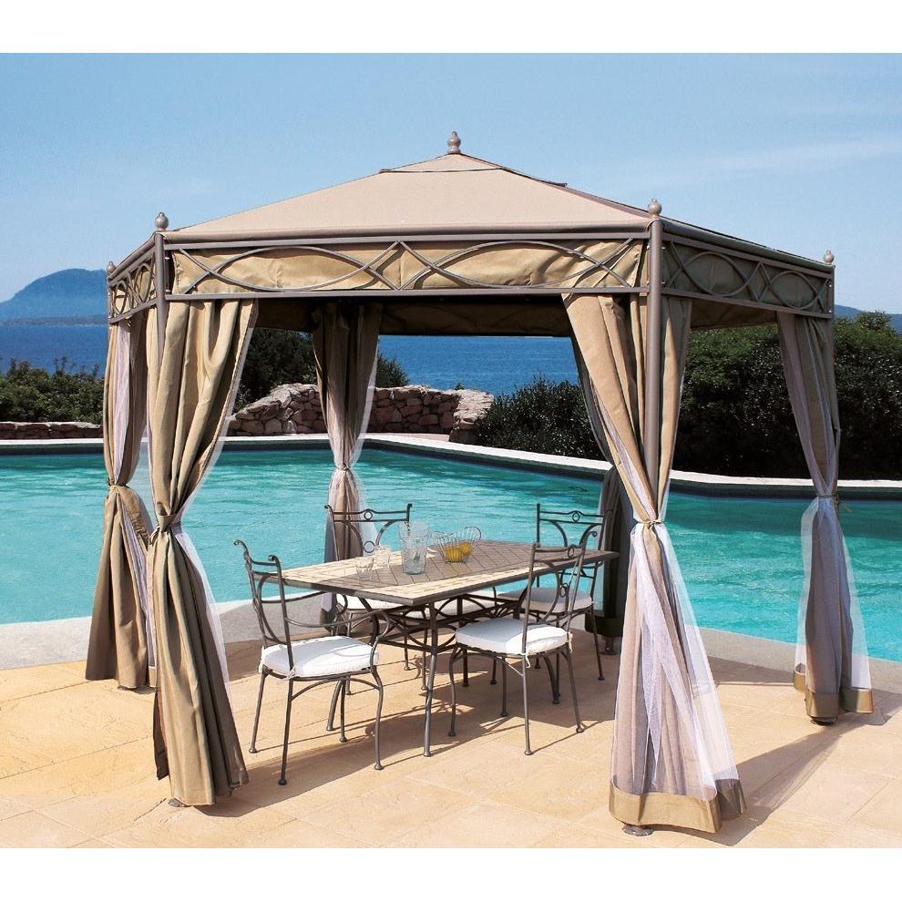 Gazebo esagonale da giardino in ferro etnico outlet mobili for Mobili da giardino economici on line