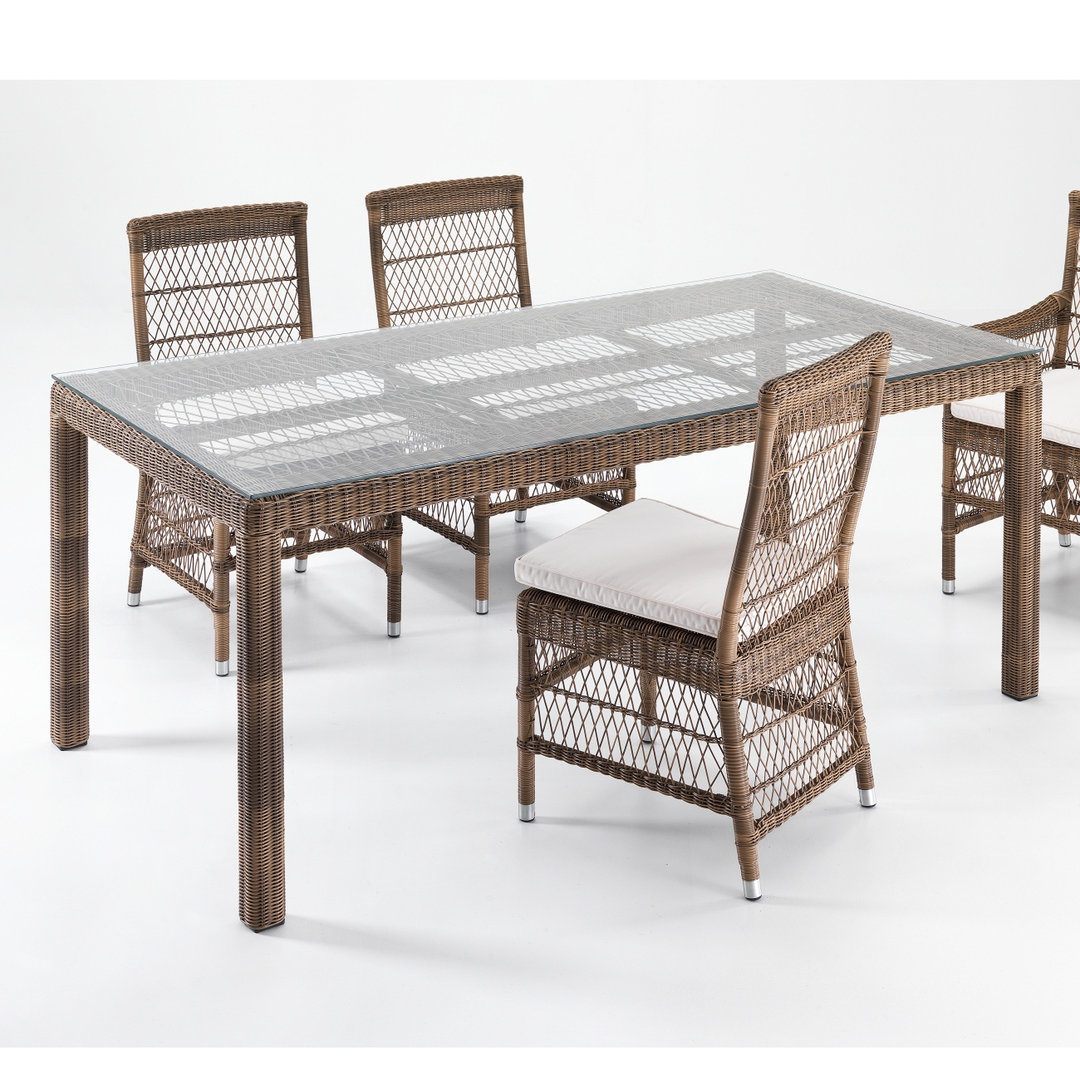 Set tavolo 4 sedie rattan sintetico etnico outlet mobili for Tavolo sedie