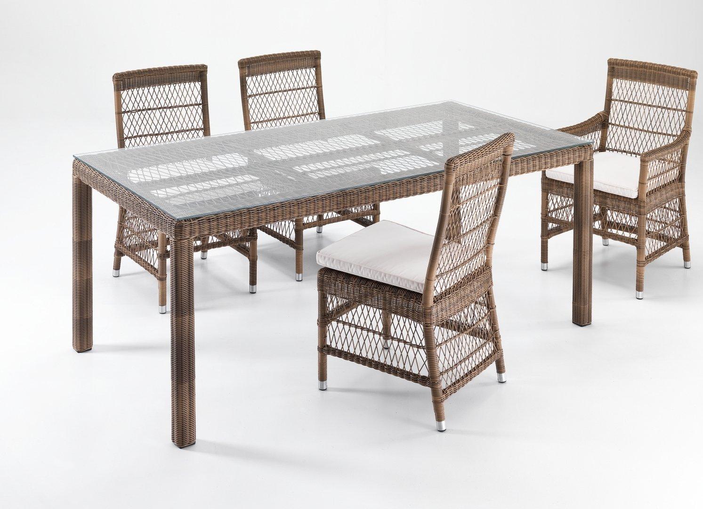 Set tavolo 4 sedie rattan sintetico etnico outlet mobili - Tavolo da giardino rattan ...