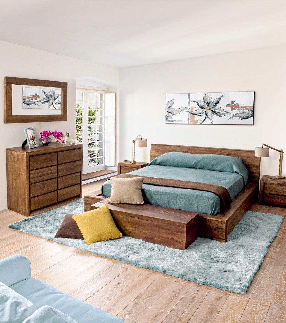 Comodino in legno massello di mango mobili etnici orientali - Camera letto legno ...