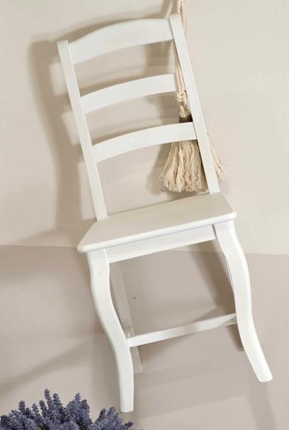 Sedia provenzale in legno bianco crema outlet mobili etnici - Sedia bianca legno ...
