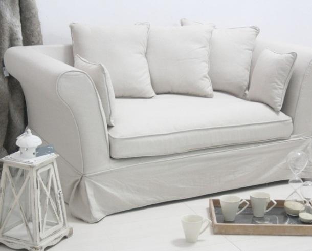 Divano francese in lino bianco divani provenzali online - Copridivano shabby ikea ...