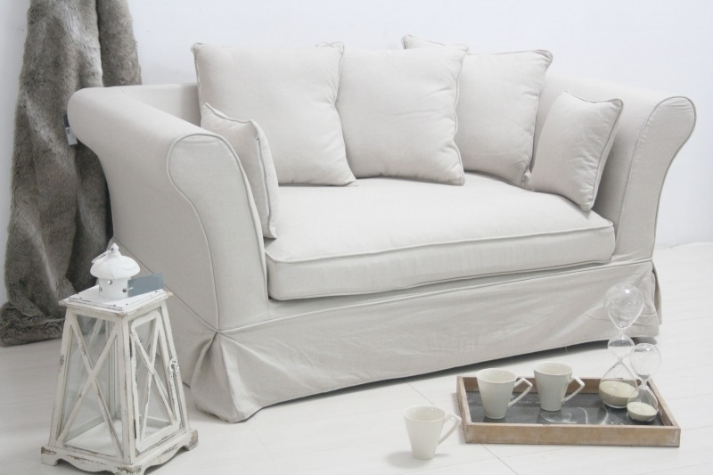 Divano francese in lino bianco divani provenzali online for Divano in francese