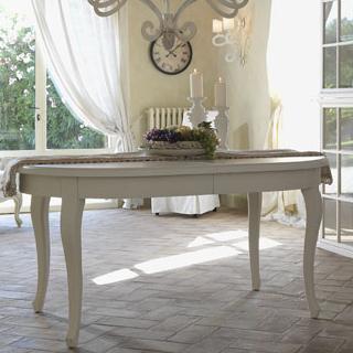 tavoli legno provenzali e shabby chic novità online etnico outlet - Tavolo Ovale Allungabile Legno Massello