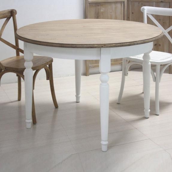 Tavolo tondo bianco shabby chic mobili provenzali shabby chic for Tavoli shabby chic usati