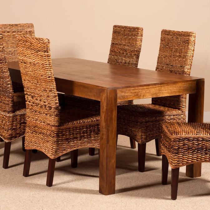Mobili etnici tavolo etnico legno massello 160cm for Tavolo rotondo legno chiaro