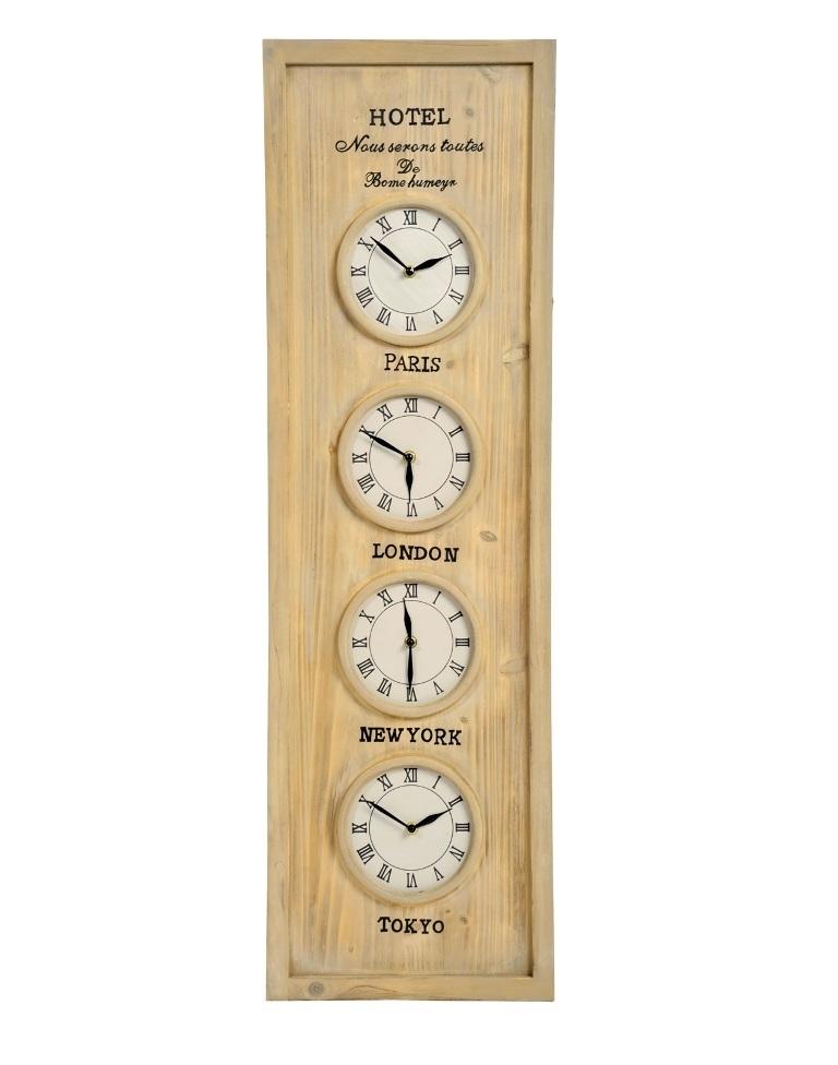 Orologio da muro multiplo legno orologi etnici shabby chic - Orologi da parete shabby chic ...