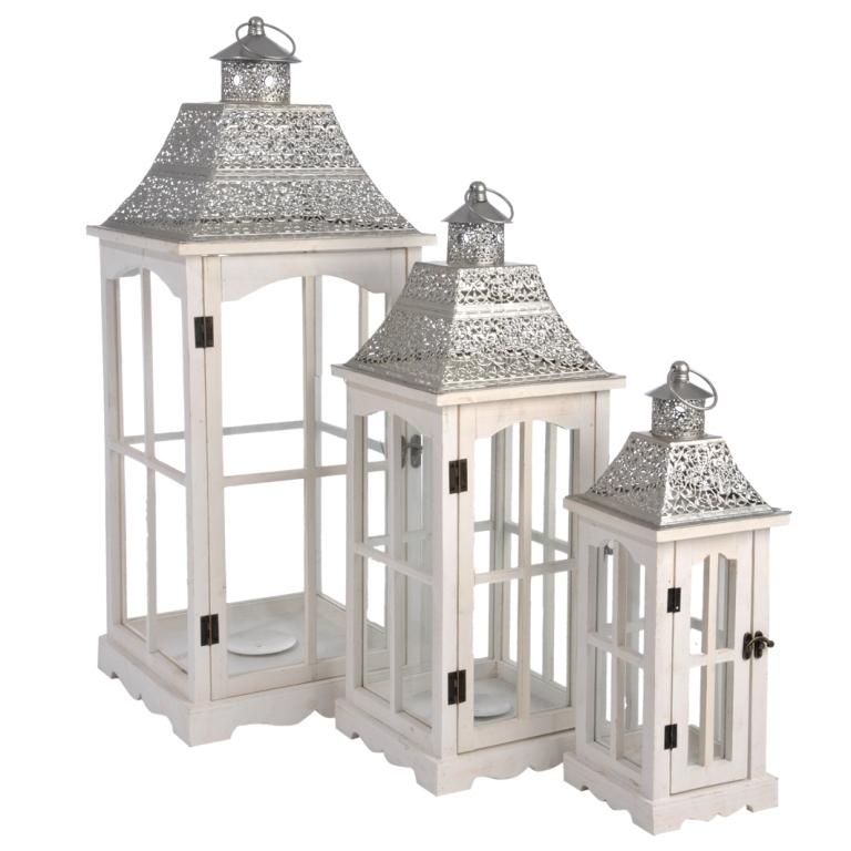 Set 3 lanterne etniche bianche etnico outlet mobili etnici industrial shabby chic - Candele per esterno ...