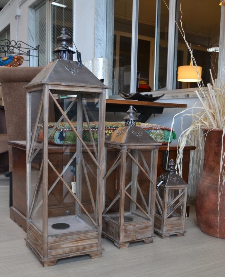 set 3 lanterne legno provenzali set 3 lanterne stile inglese legno ...