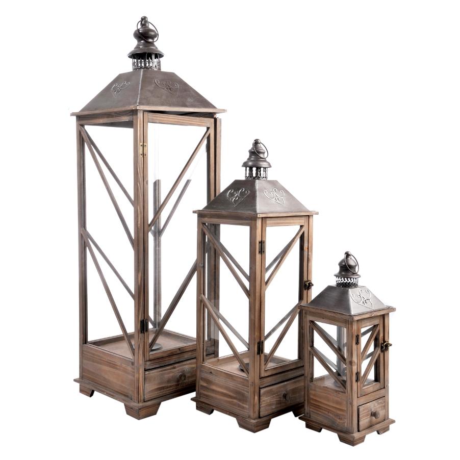 Set 3 lanterne legno provenzali etnico outlet mobili for Lanterne in legno