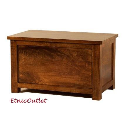 Baule etnico legno massello naturale etnico outlet mobili for Cassapanche piccole legno
