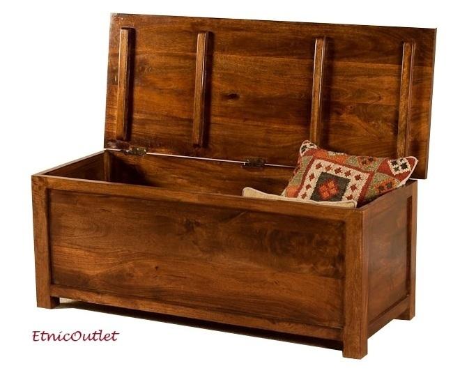 Baule etnico legno massello col mogano Outlet mobili etnici