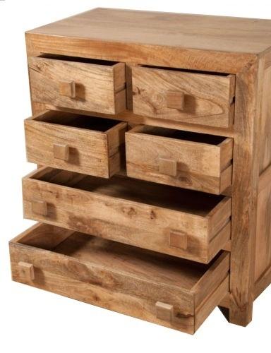 Cassettiera etnica 6 cass col naturale outlet mobili etnici for Cassettiera legno