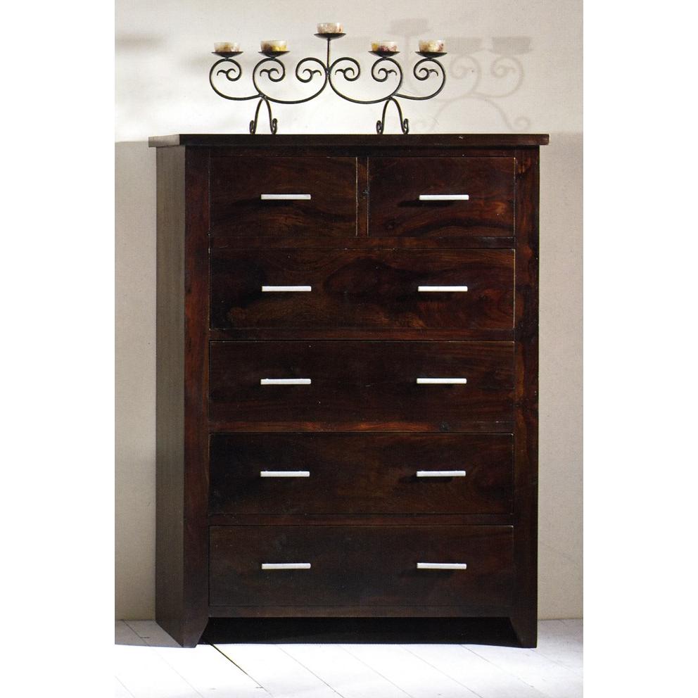 cassettiera etnica legno massello - etnico outlet mobili etnici - Cassettiera Legno Scuro